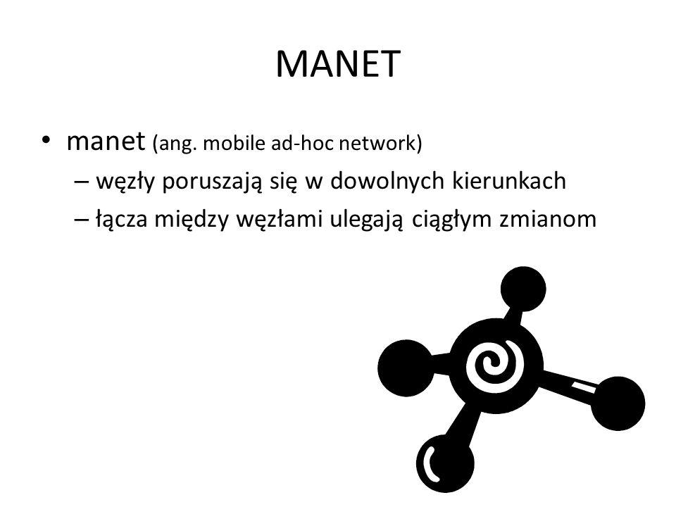 MANET manet (ang. mobile ad-hoc network) – węzły poruszają się w dowolnych kierunkach – łącza między węzłami ulegają ciągłym zmianom