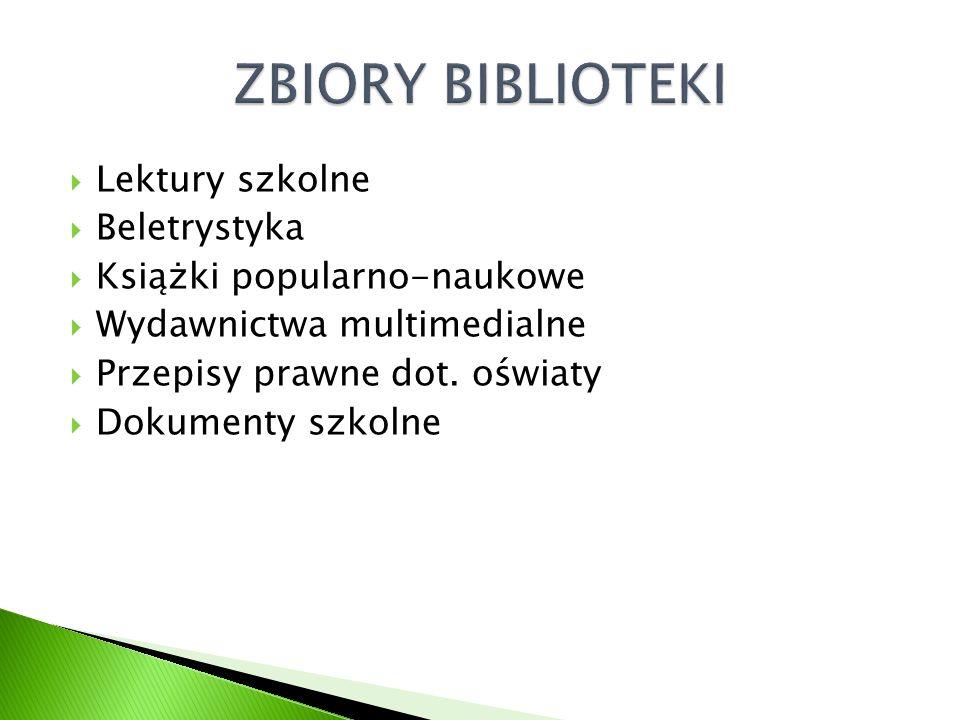 Lektury szkolne Beletrystyka Książki popularno-naukowe Wydawnictwa multimedialne Przepisy prawne dot.