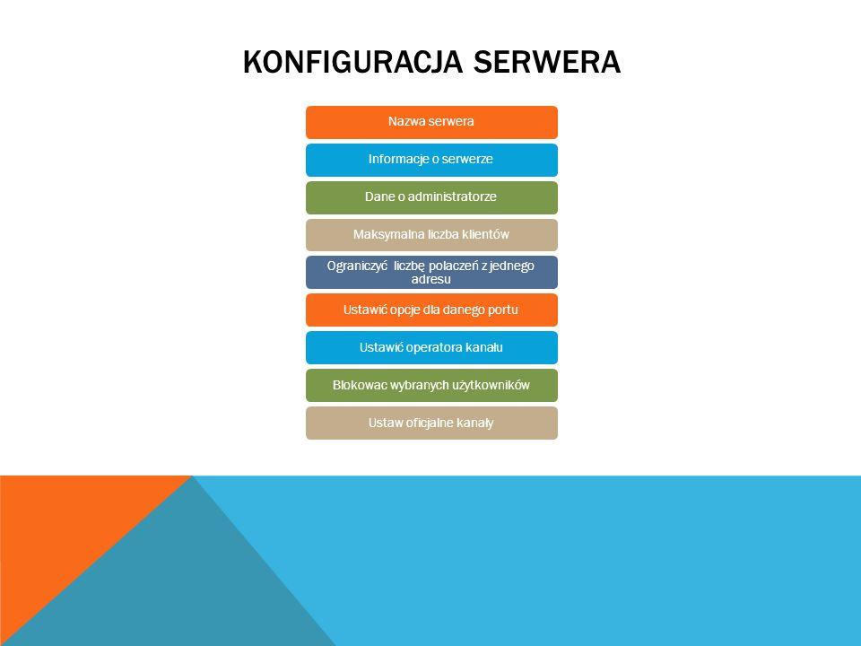 KONFIGURACJA SERWERA Nazwa serweraInformacje o serwerzeDane o administratorzeMaksymalna liczba klientów Ograniczyć liczbę polaczeń z jednego adresu Us