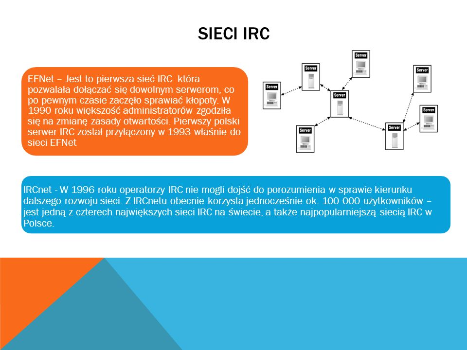 SIECI IRC EFNet – Jest to pierwsza sieć IRC która pozwalała dołączać się dowolnym serwerom, co po pewnym czasie zaczęło sprawiać kłopoty. W 1990 roku