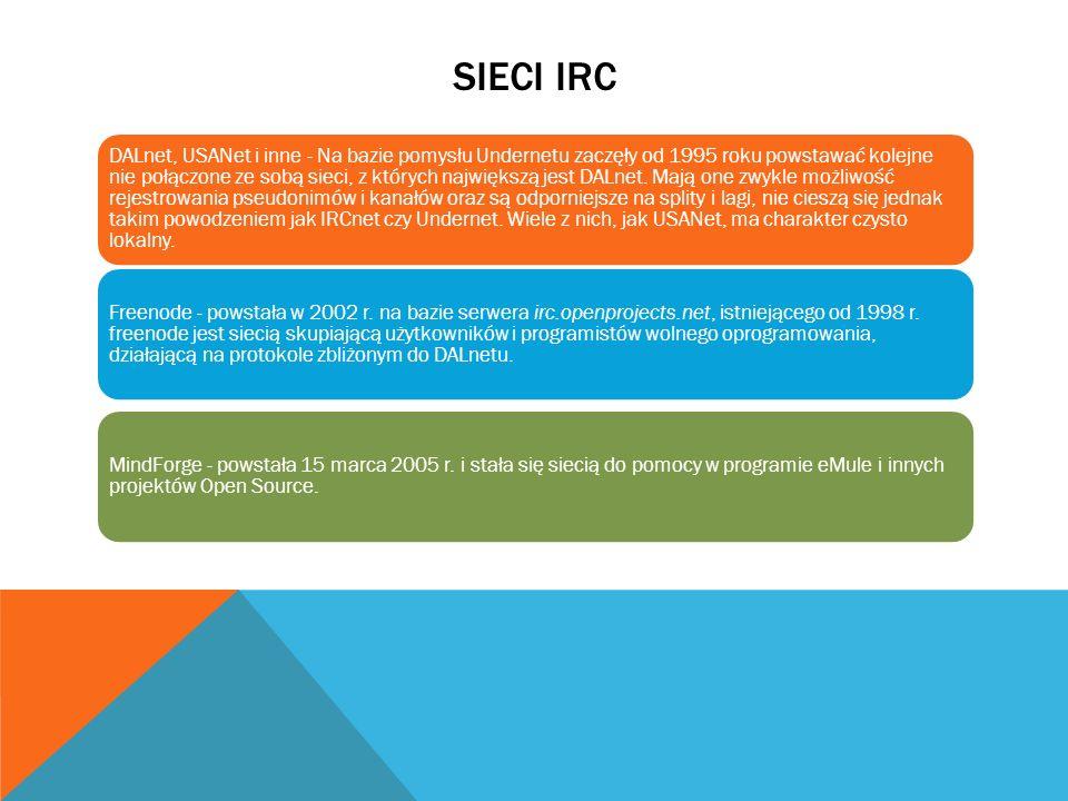 SIECI IRC DALnet, USANet i inne - Na bazie pomysłu Undernetu zaczęły od 1995 roku powstawać kolejne nie połączone ze sobą sieci, z których największą