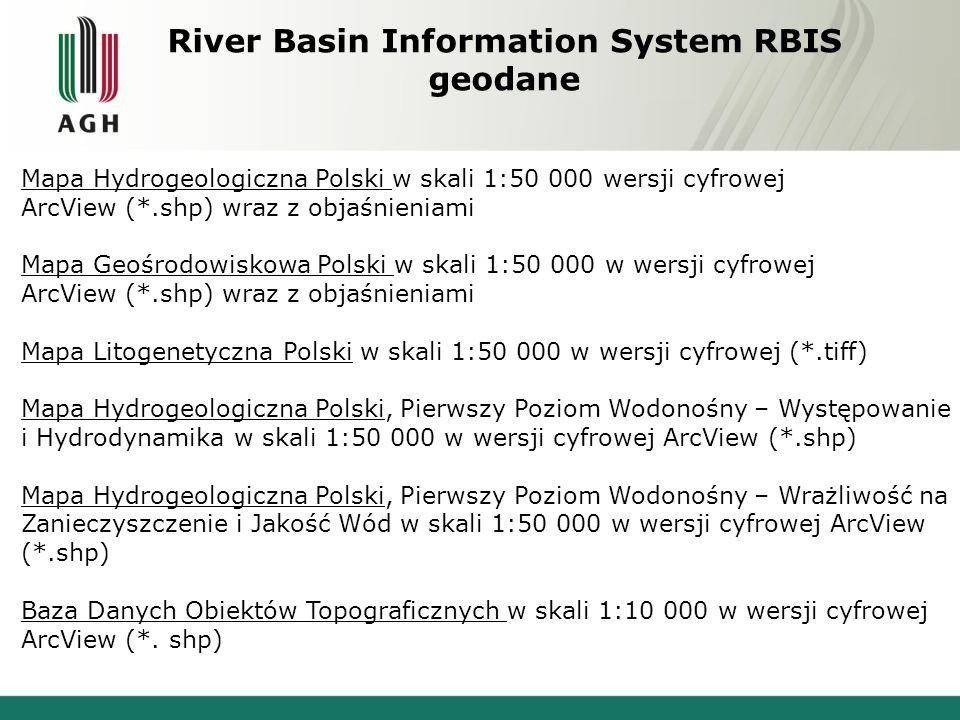 River Basin Information System RBIS geodane Mapa Hydrogeologiczna Polski w skali 1:50 000 wersji cyfrowej ArcView (*.shp) wraz z objaśnieniami Mapa Geośrodowiskowa Polski w skali 1:50 000 w wersji cyfrowej ArcView (*.shp) wraz z objaśnieniami Mapa Litogenetyczna Polski w skali 1:50 000 w wersji cyfrowej (*.tiff) Mapa Hydrogeologiczna Polski, Pierwszy Poziom Wodonośny – Występowanie i Hydrodynamika w skali 1:50 000 w wersji cyfrowej ArcView (*.shp) Mapa Hydrogeologiczna Polski, Pierwszy Poziom Wodonośny – Wrażliwość na Zanieczyszczenie i Jakość Wód w skali 1:50 000 w wersji cyfrowej ArcView (*.shp) Baza Danych Obiektów Topograficznych w skali 1:10 000 w wersji cyfrowej ArcView (*.