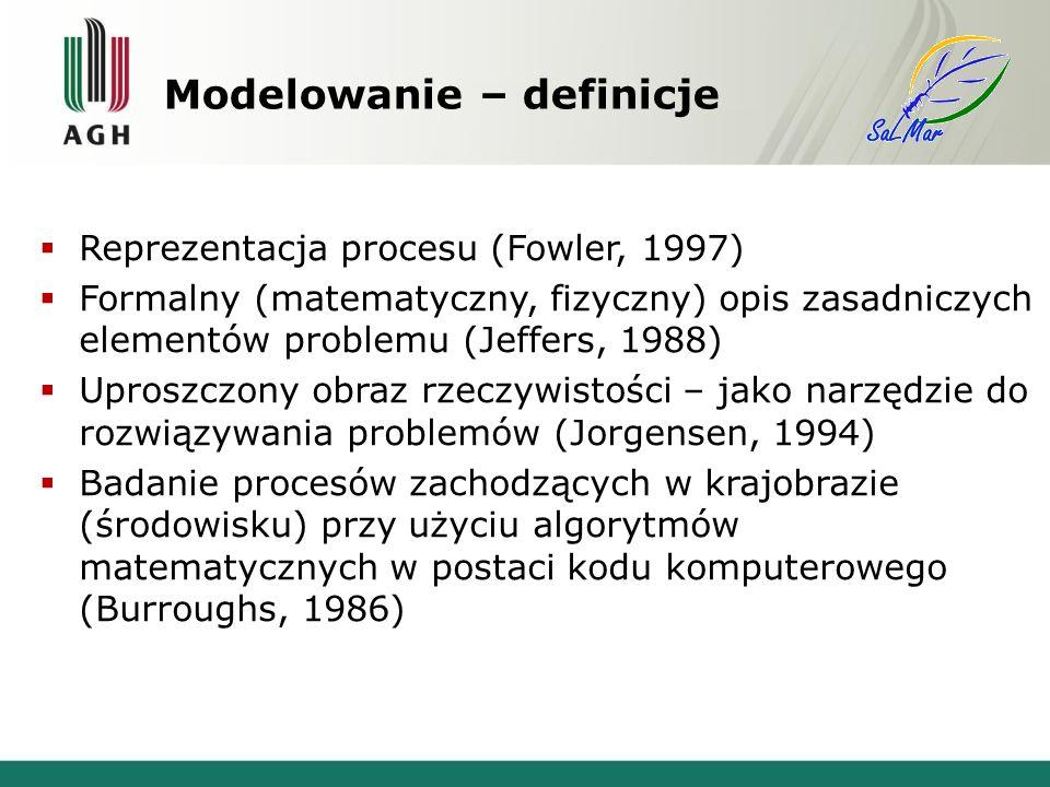 Modelowanie – definicje Reprezentacja procesu (Fowler, 1997) Formalny (matematyczny, fizyczny) opis zasadniczych elementów problemu (Jeffers, 1988) Uproszczony obraz rzeczywistości – jako narzędzie do rozwiązywania problemów (Jorgensen, 1994) Badanie procesów zachodzących w krajobrazie (środowisku) przy użyciu algorytmów matematycznych w postaci kodu komputerowego (Burroughs, 1986)
