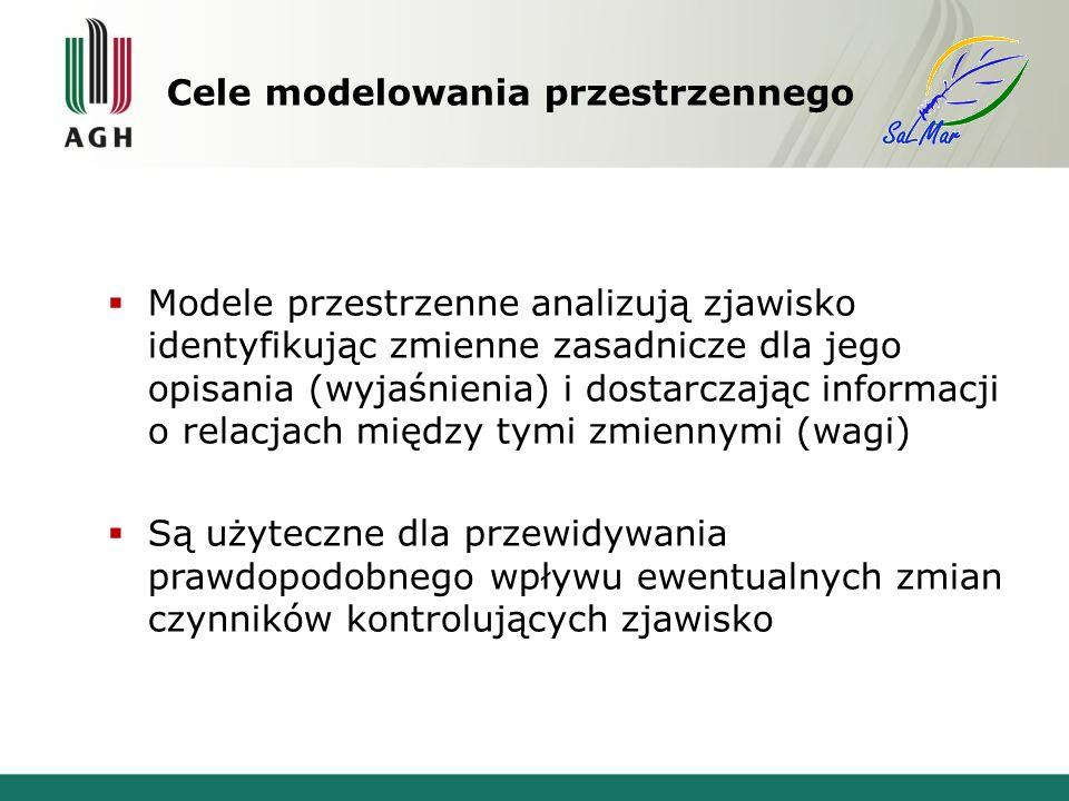 Modele przestrzenne analizują zjawisko identyfikując zmienne zasadnicze dla jego opisania (wyjaśnienia) i dostarczając informacji o relacjach między tymi zmiennymi (wagi) Są użyteczne dla przewidywania prawdopodobnego wpływu ewentualnych zmian czynników kontrolujących zjawisko Cele modelowania przestrzennego