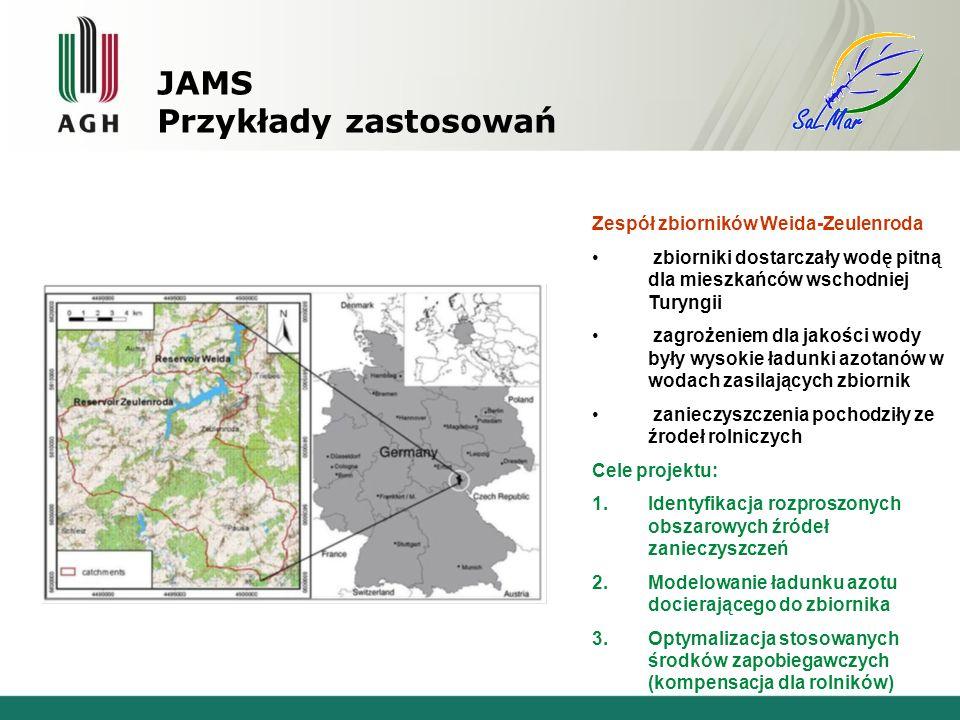 Zespół zbiorników Weida-Zeulenroda zbiorniki dostarczały wodę pitną dla mieszkańców wschodniej Turyngii zagrożeniem dla jakości wody były wysokie ładunki azotanów w wodach zasilających zbiornik zanieczyszczenia pochodziły ze źrodeł rolniczych Cele projektu: 1.Identyfikacja rozproszonych obszarowych źródeł zanieczyszczeń 2.Modelowanie ładunku azotu docierającego do zbiornika 3.Optymalizacja stosowanych środków zapobiegawczych (kompensacja dla rolników) JAMS Przykłady zastosowań