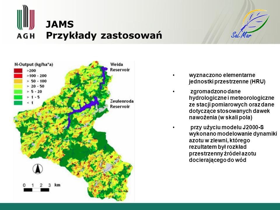 wyznaczono elementarne jednostki przestrzenne (HRU) zgromadzono dane hydrologiczne i meteorologiczne ze stacji pomiarowych oraz dane dotyczące stosowanych dawek nawożenia (w skali pola) przy użyciu modelu J2000-S wykonano modelowanie dynamiki azotu w zlewni, którego rezultatem był rozkład przestrzenny źródeł azotu docierającego do wód JAMS Przykłady zastosowań