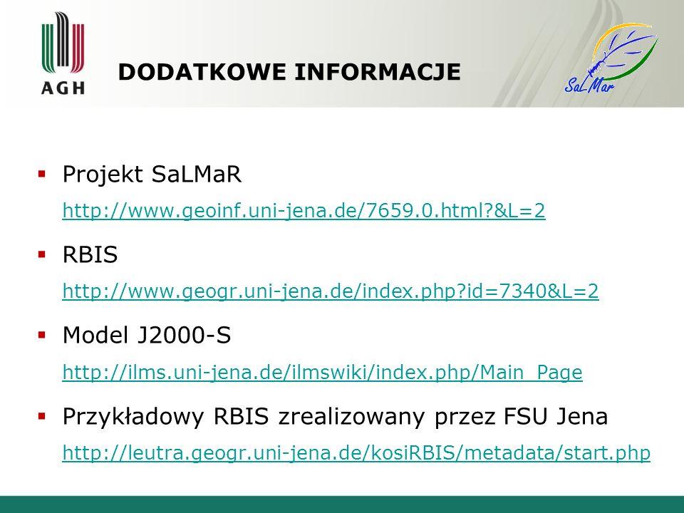 DODATKOWE INFORMACJE Projekt SaLMaR http://www.geoinf.uni-jena.de/7659.0.html?&L=2 http://www.geoinf.uni-jena.de/7659.0.html?&L=2 RBIS http://www.geogr.uni-jena.de/index.php?id=7340&L=2 http://www.geogr.uni-jena.de/index.php?id=7340&L=2 Model J2000-S http://ilms.uni-jena.de/ilmswiki/index.php/Main_Page http://ilms.uni-jena.de/ilmswiki/index.php/Main_Page Przykładowy RBIS zrealizowany przez FSU Jena http://leutra.geogr.uni-jena.de/kosiRBIS/metadata/start.php http://leutra.geogr.uni-jena.de/kosiRBIS/metadata/start.php