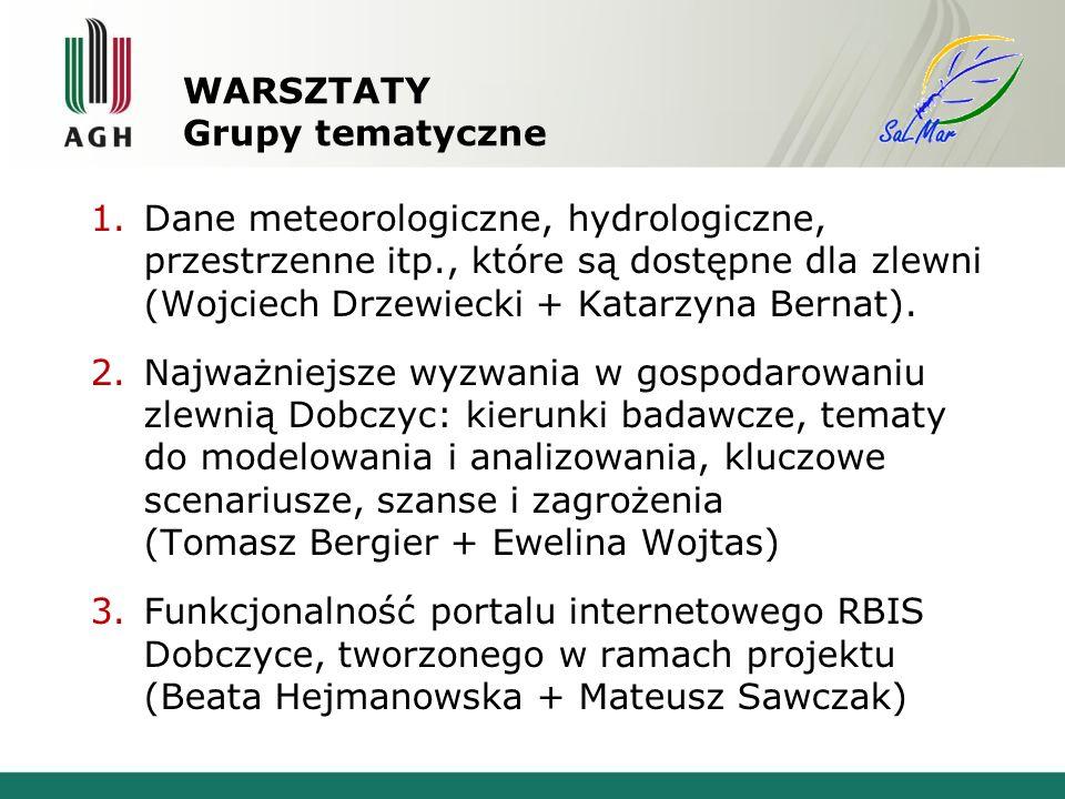 WARSZTATY Grupy tematyczne 1.Dane meteorologiczne, hydrologiczne, przestrzenne itp., które są dostępne dla zlewni (Wojciech Drzewiecki + Katarzyna Bernat).