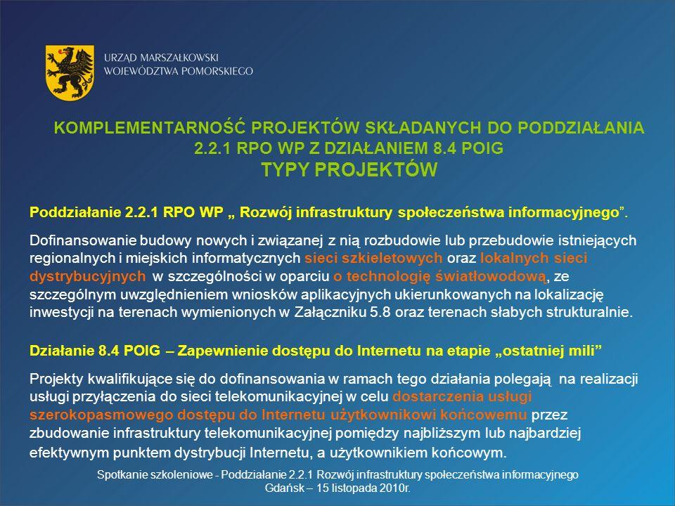 KOMPLEMENTARNOŚĆ PROJEKTÓW SKŁADANYCH DO PODDZIAŁANIA 2.2.1 RPO WP Z DZIAŁANIEM 8.4 POIG TYPY PROJEKTÓW Poddziałanie 2.2.1 RPO WP Rozwój infrastruktury społeczeństwa informacyjnego.