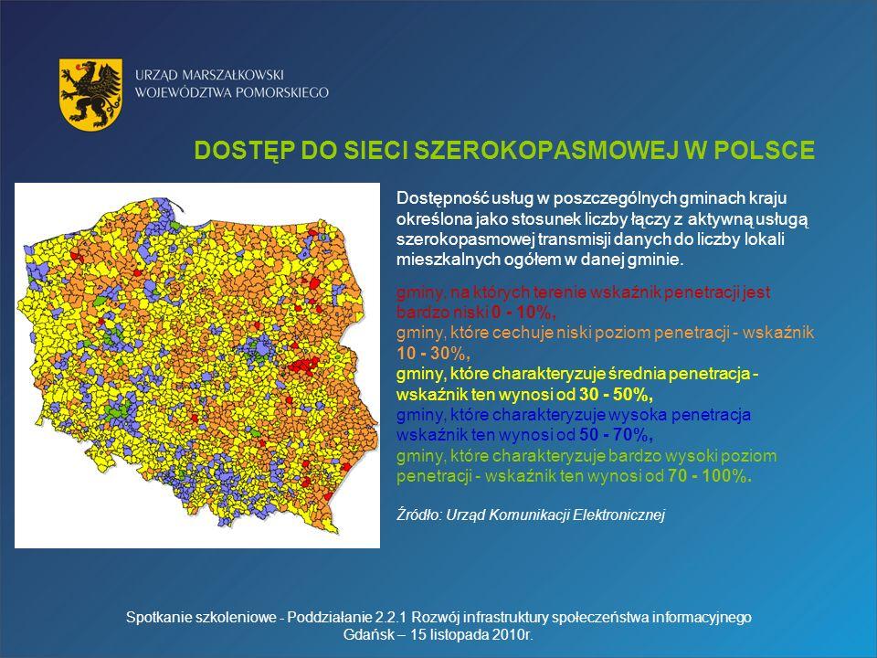 DOSTĘP DO SIECI SZEROKOPASMOWEJ W POLSCE Spotkanie szkoleniowe - Poddziałanie 2.2.1 Rozwój infrastruktury społeczeństwa informacyjnego Gdańsk – 15 listopada 2010r.