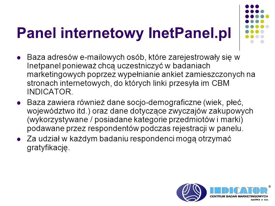 Panel internetowy InetPanel.pl Baza adresów e-mailowych osób, które zarejestrowały się w Inetpanel ponieważ chcą uczestniczyć w badaniach marketingowy