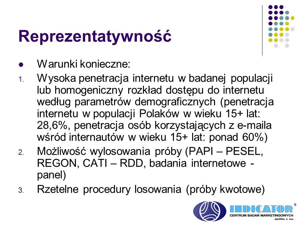 Reprezentatywność Warunki konieczne: 1. Wysoka penetracja internetu w badanej populacji lub homogeniczny rozkład dostępu do internetu według parametró
