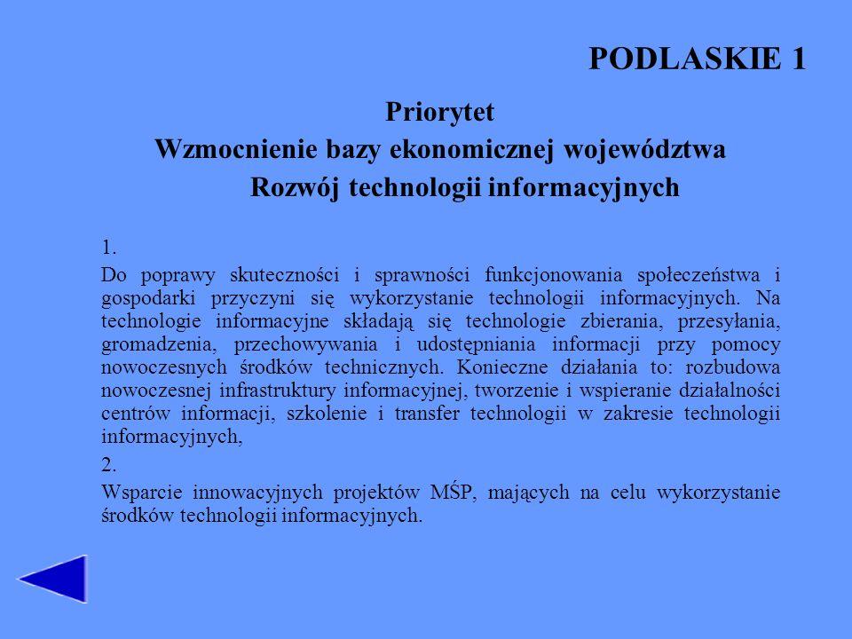 PODLASKIE 1 Priorytet Wzmocnienie bazy ekonomicznej województwa Rozwój technologii informacyjnych 1. Do poprawy skuteczności i sprawności funkcjonowan