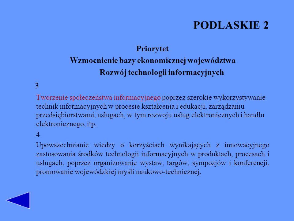 PODLASKIE 2 Priorytet Wzmocnienie bazy ekonomicznej województwa Rozwój technologii informacyjnych 3 Tworzenie społeczeństwa informacyjnego poprzez sze
