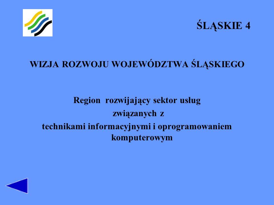 ŚLĄSKIE 4 WIZJA ROZWOJU WOJEWÓDZTWA ŚLĄSKIEGO Region rozwijający sektor usług związanych z technikami informacyjnymi i oprogramowaniem komputerowym