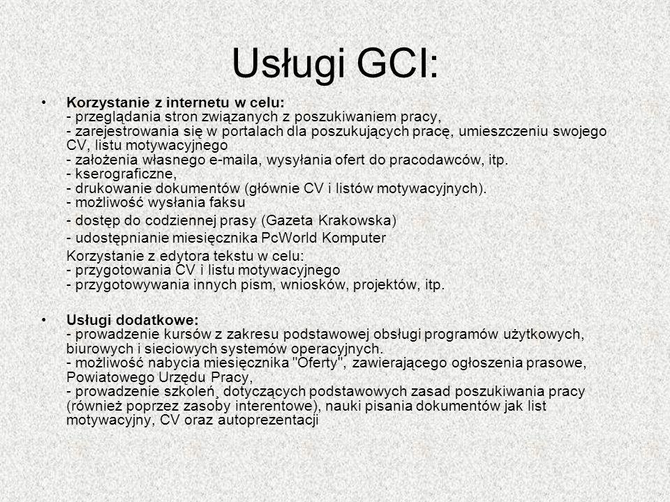 Wyposażenie pracowni GCI (Wola Żyrakowska) 10 stanowisk komputerowych połączonych w sieć, z szybkim dostępem do internetu, drukarka sieciowa, kserokopiarka (cyfrowa), fax, skaner, cyfrowy aparat fotograficzny, telewizor, HOT SPOT (bezprzewodowy dostęp do internetu), Filia GCI w Nagoszynie 3 stanowiska komputerowe połączone w sieć, z szybkim dostępem do internetu, drukarka sieciowa,