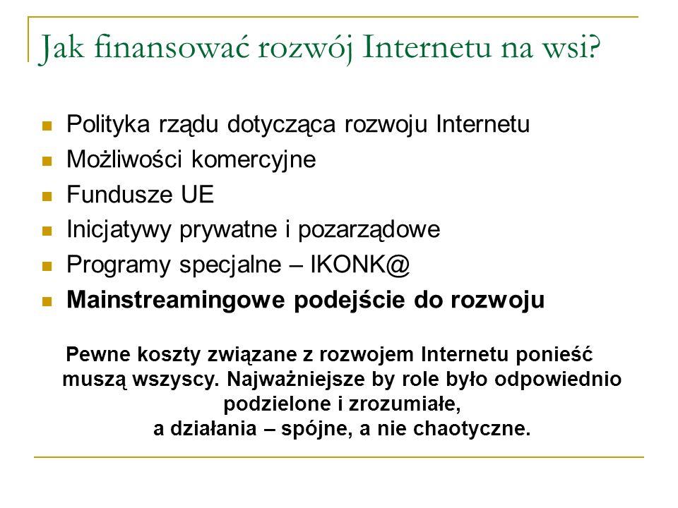 Jak finansować rozwój Internetu na wsi.