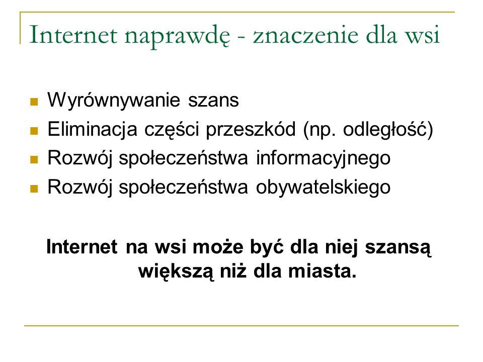 Internet naprawdę - znaczenie dla wsi Wyrównywanie szans Eliminacja części przeszkód (np.