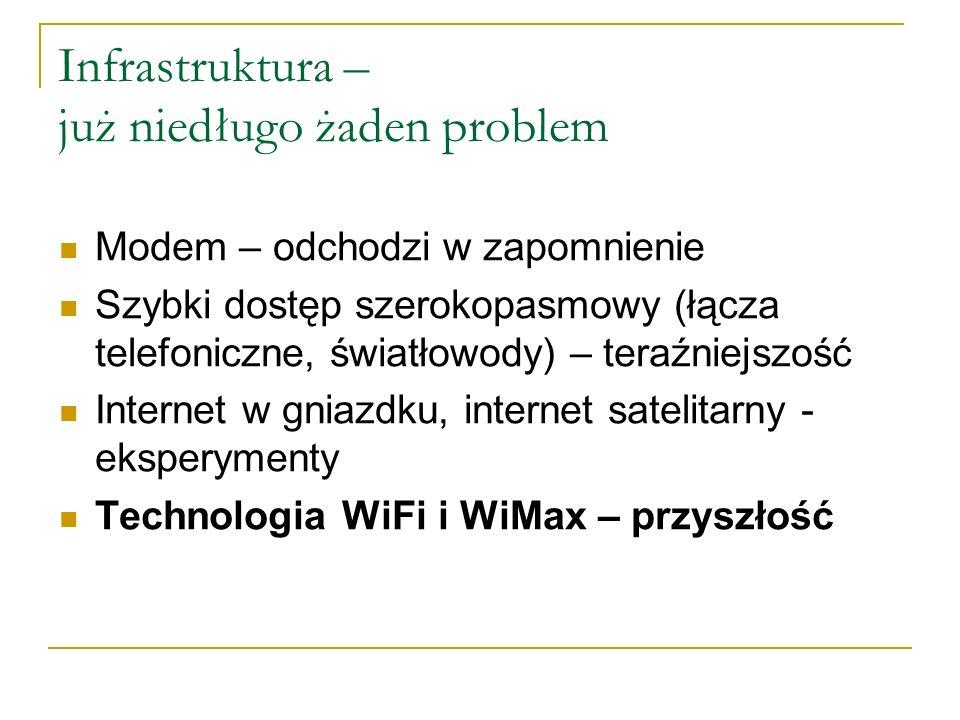 Infrastruktura – już niedługo żaden problem Modem – odchodzi w zapomnienie Szybki dostęp szerokopasmowy (łącza telefoniczne, światłowody) – teraźniejszość Internet w gniazdku, internet satelitarny - eksperymenty Technologia WiFi i WiMax – przyszłość