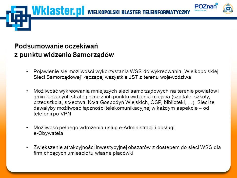 Podsumowanie oczekiwań z punktu widzenia Samorządów Pojawienie się możliwości wykorzystania WSS do wykreowania Wielkopolskiej Sieci Samorządowej łączą