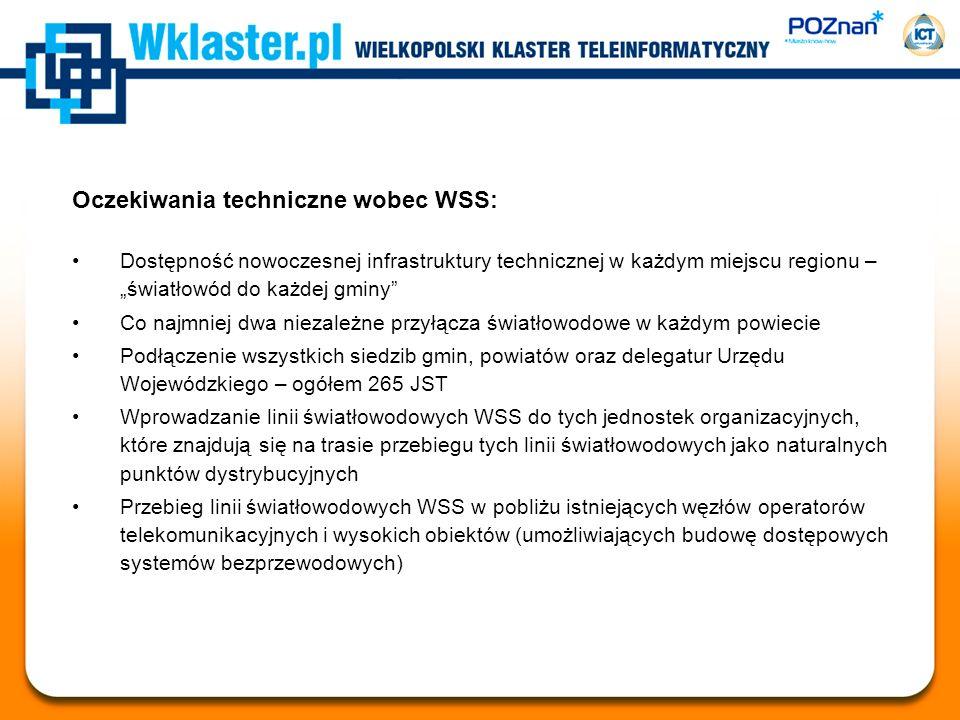 Oczekiwania techniczne wobec WSS: Dostępność nowoczesnej infrastruktury technicznej w każdym miejscu regionu – światłowód do każdej gminy Co najmniej