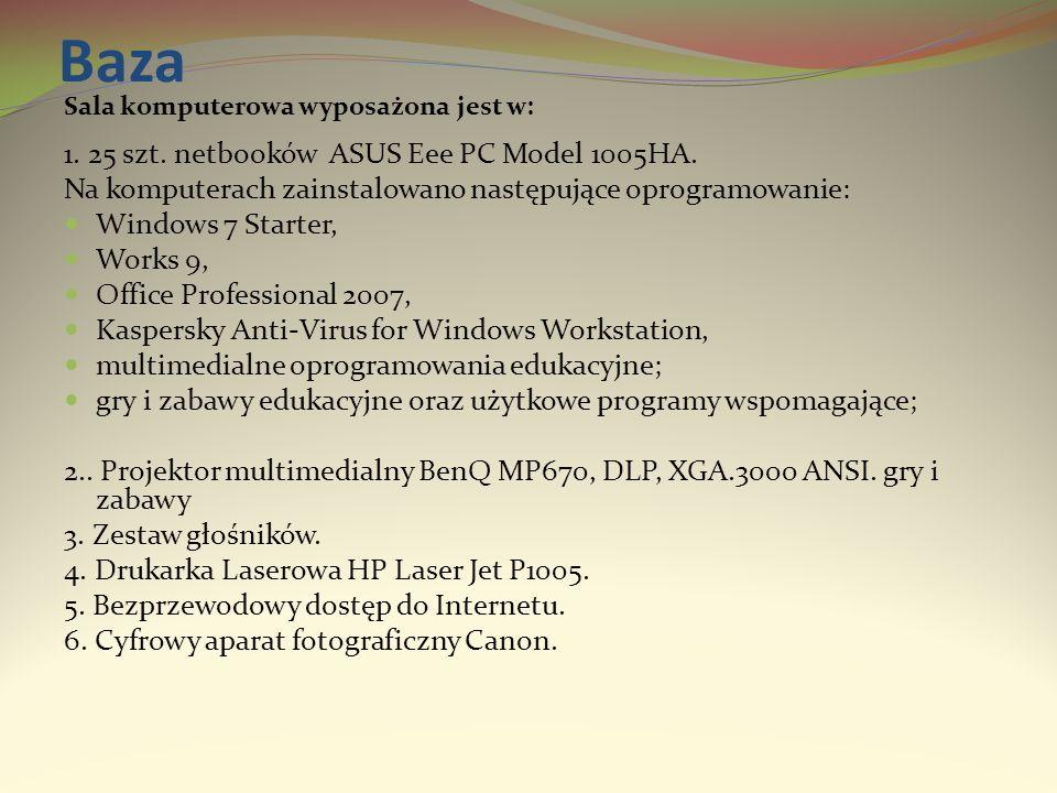 Baza Sala komputerowa wyposażona jest w: 1. 25 szt. netbooków ASUS Eee PC Model 1005HA. Na komputerach zainstalowano następujące oprogramowanie: Windo