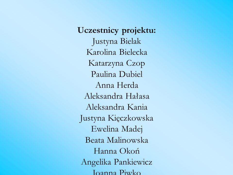 Uczestnicy projektu: Justyna Bielak Karolina Bielecka Katarzyna Czop Paulina Dubiel Anna Herda Aleksandra Hałasa Aleksandra Kania Justyna Kięczkowska
