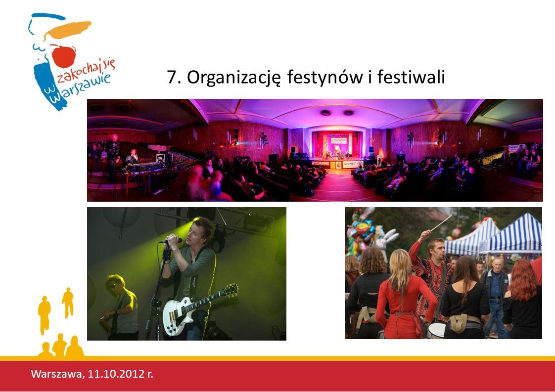 Warszawa, 11.10.2012 r. 7. Organizację festynów i festiwali