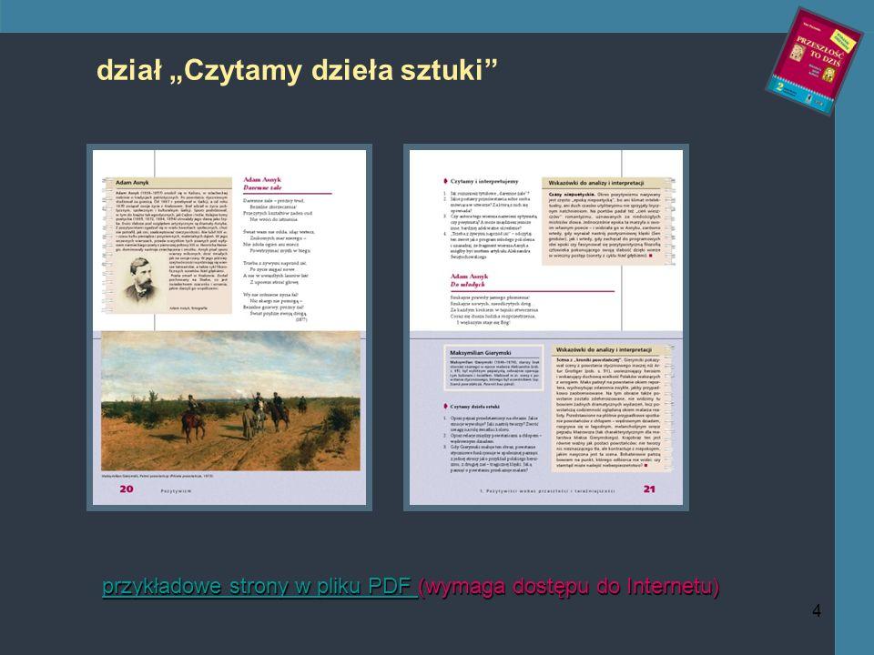 4 dział Czytamy dzieła sztuki przykładowe strony w pliku PDF przykładowe strony w pliku PDF (wymaga dostępu do Internetu) przykładowe strony w pliku PDF
