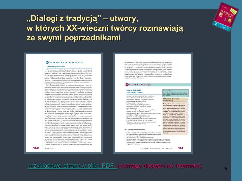 5 Dialogi z tradycją – utwory, w których XX-wieczni twórcy rozmawiają ze swymi poprzednikami przykładowe strony w pliku PDF przykładowe strony w pliku PDF (wymaga dostępu do Internetu) przykładowe strony w pliku PDF
