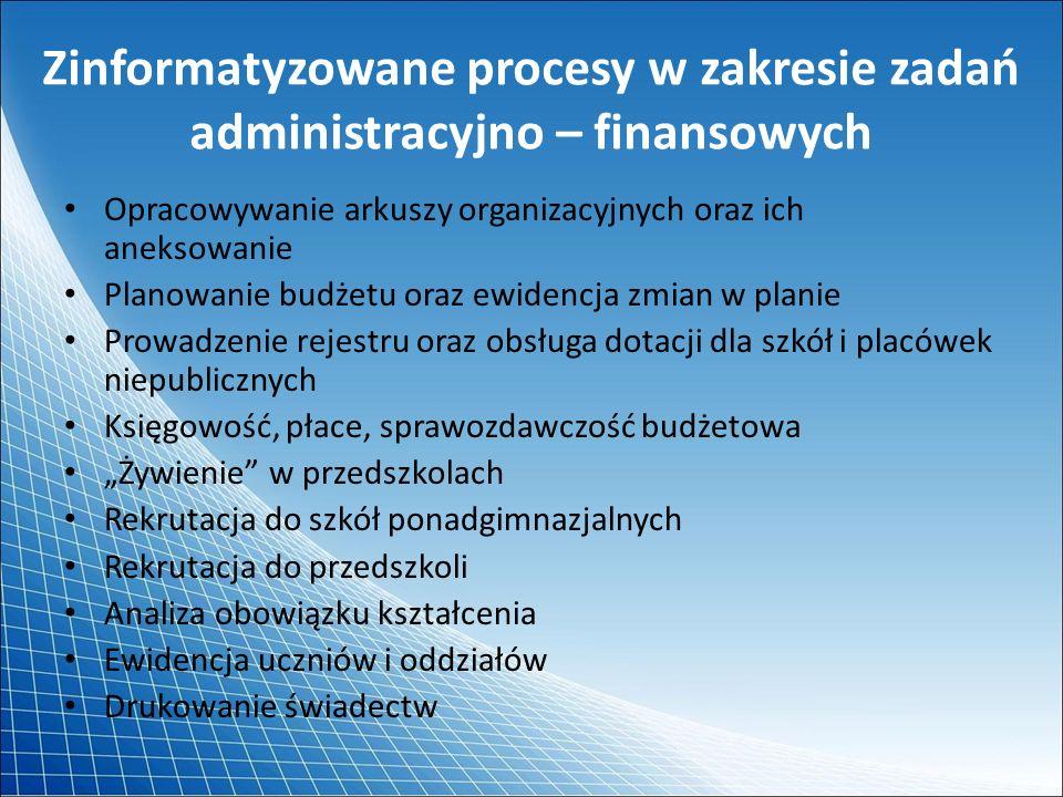 Zinformatyzowane procesy w zakresie zadań administracyjno – finansowych Opracowywanie arkuszy organizacyjnych oraz ich aneksowanie Planowanie budżetu