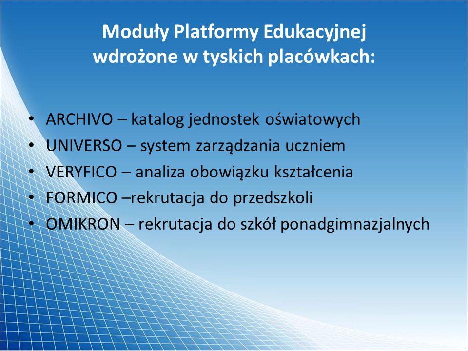 Moduły Platformy Edukacyjnej wdrożone w tyskich placówkach: ARCHIVO – katalog jednostek oświatowych UNIVERSO – system zarządzania uczniem VERYFICO – a