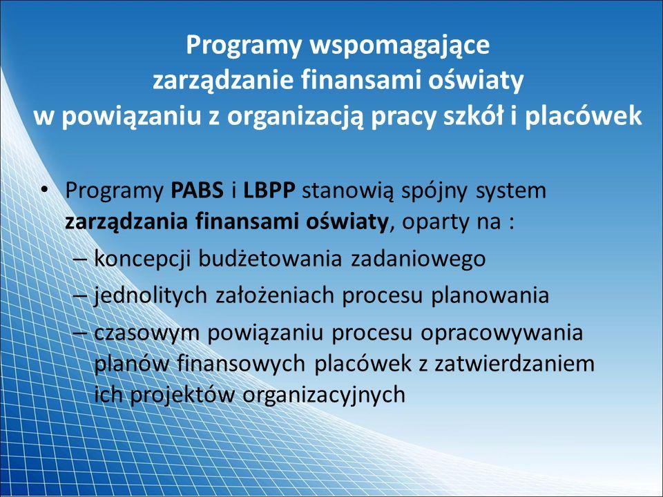 Programy wspomagające zarządzanie finansami oświaty w powiązaniu z organizacją pracy szkół i placówek Programy PABS i LBPP stanowią spójny system zarz