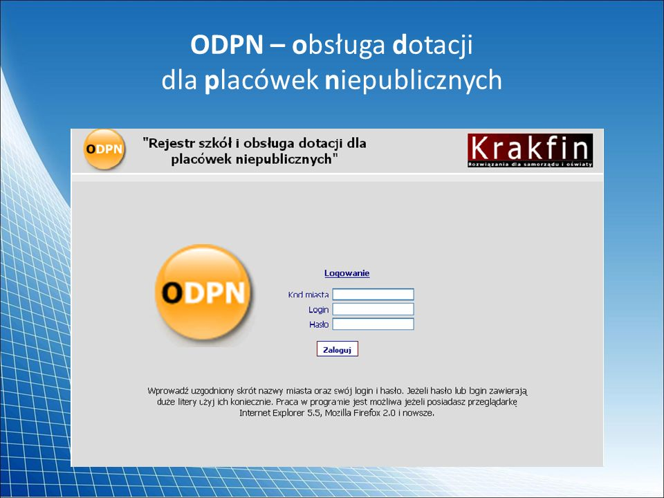 ODPN – obsługa dotacji dla placówek niepublicznych