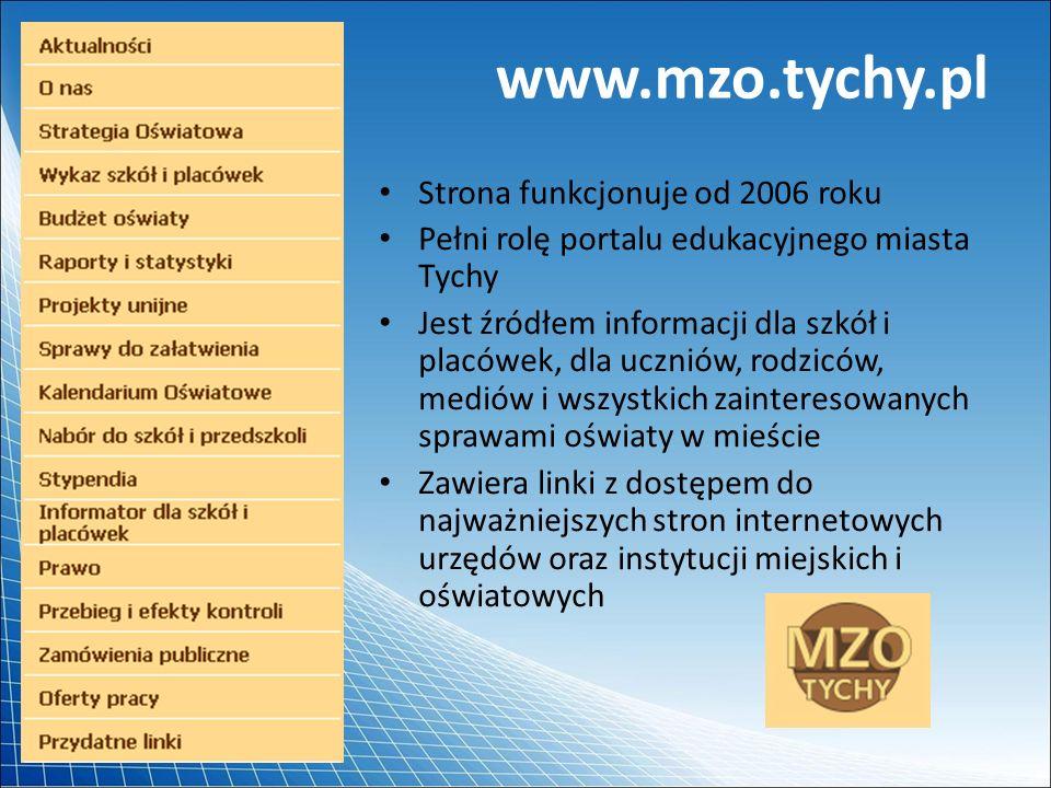 www.mzo.tychy.pl Strona funkcjonuje od 2006 roku Pełni rolę portalu edukacyjnego miasta Tychy Jest źródłem informacji dla szkół i placówek, dla ucznió
