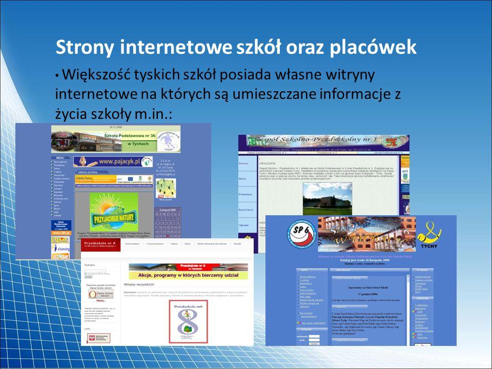 Strony internetowe szkół oraz placówek Większość tyskich szkół posiada własne witryny internetowe na których są umieszczane informacje z życia szkoły