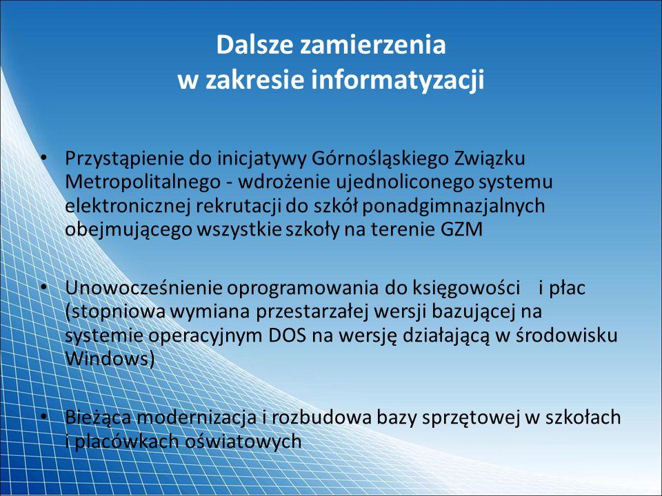 Dalsze zamierzenia w zakresie informatyzacji Przystąpienie do inicjatywy Górnośląskiego Związku Metropolitalnego - wdrożenie ujednoliconego systemu el