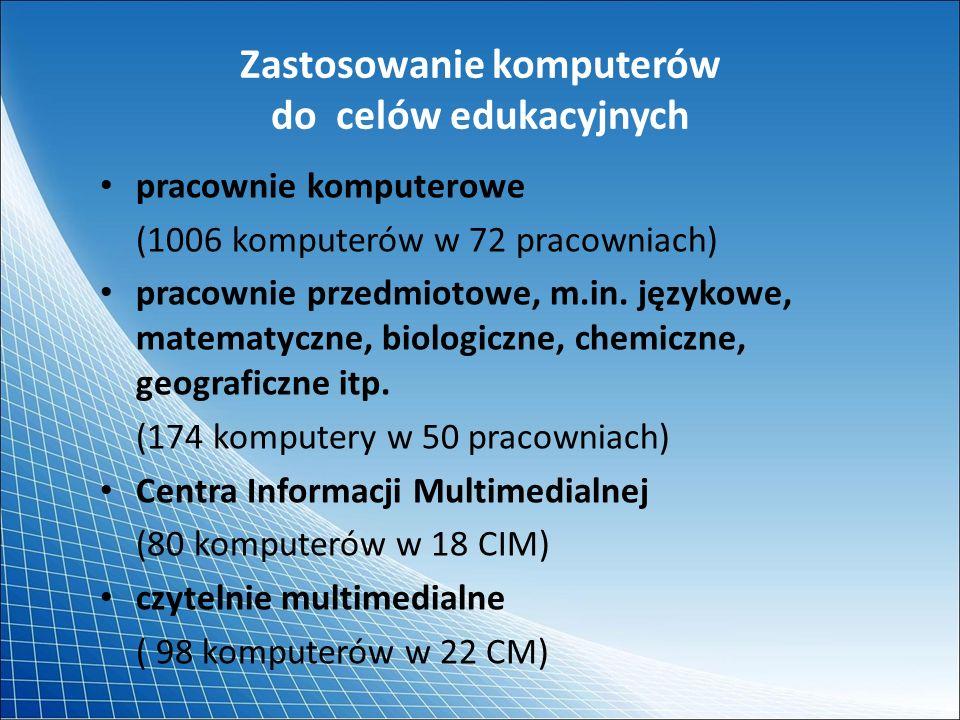 Zastosowanie komputerów do celów edukacyjnych pracownie komputerowe (1006 komputerów w 72 pracowniach) pracownie przedmiotowe, m.in. językowe, matemat