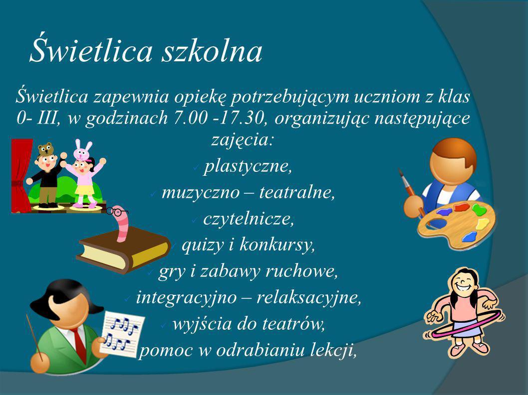 Świetlica szkolna Świetlica zapewnia opiekę potrzebującym uczniom z klas 0- III, w godzinach 7.00 -17.30, organizując następujące zajęcia: plastyczne,