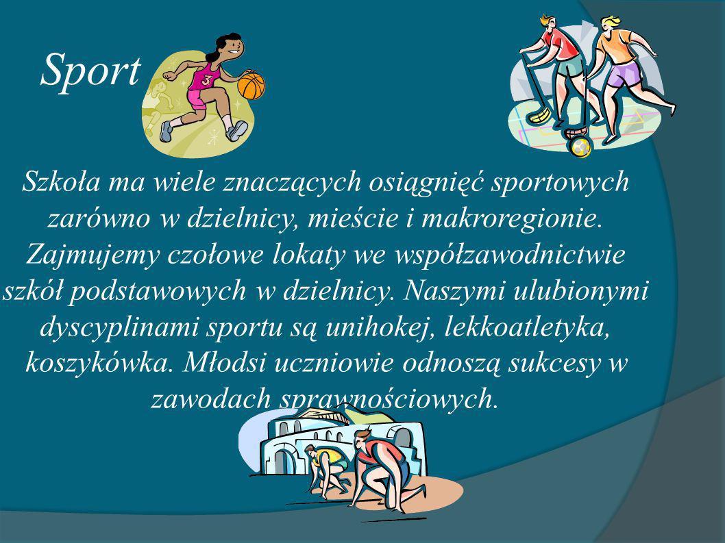 Sport Szkoła ma wiele znaczących osiągnięć sportowych zarówno w dzielnicy, mieście i makroregionie. Zajmujemy czołowe lokaty we współzawodnictwie szkó