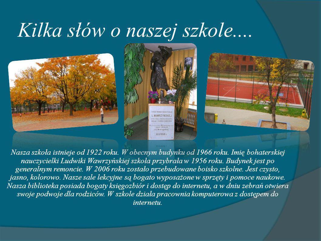 Kilka słów o naszej szkole.... Nasza szkoła istnieje od 1922 roku. W obecnym budynku od 1966 roku. Imię bohaterskiej nauczycielki Ludwiki Wawrzyńskiej