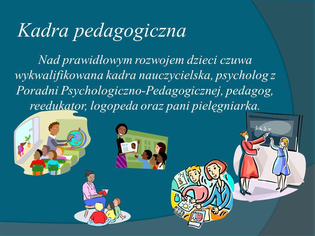 Kadra pedagogiczna Nad prawidłowym rozwojem dzieci czuwa wykwalifikowana kadra nauczycielska, psycholog z Poradni Psychologiczno-Pedagogicznej, pedago