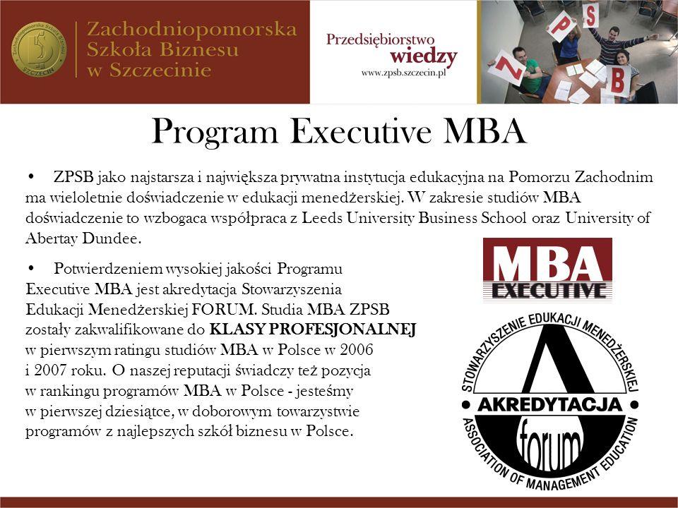 Program Executive MBA ZPSB jako najstarsza i najwi ę ksza prywatna instytucja edukacyjna na Pomorzu Zachodnim ma wieloletnie do ś wiadczenie w edukacj