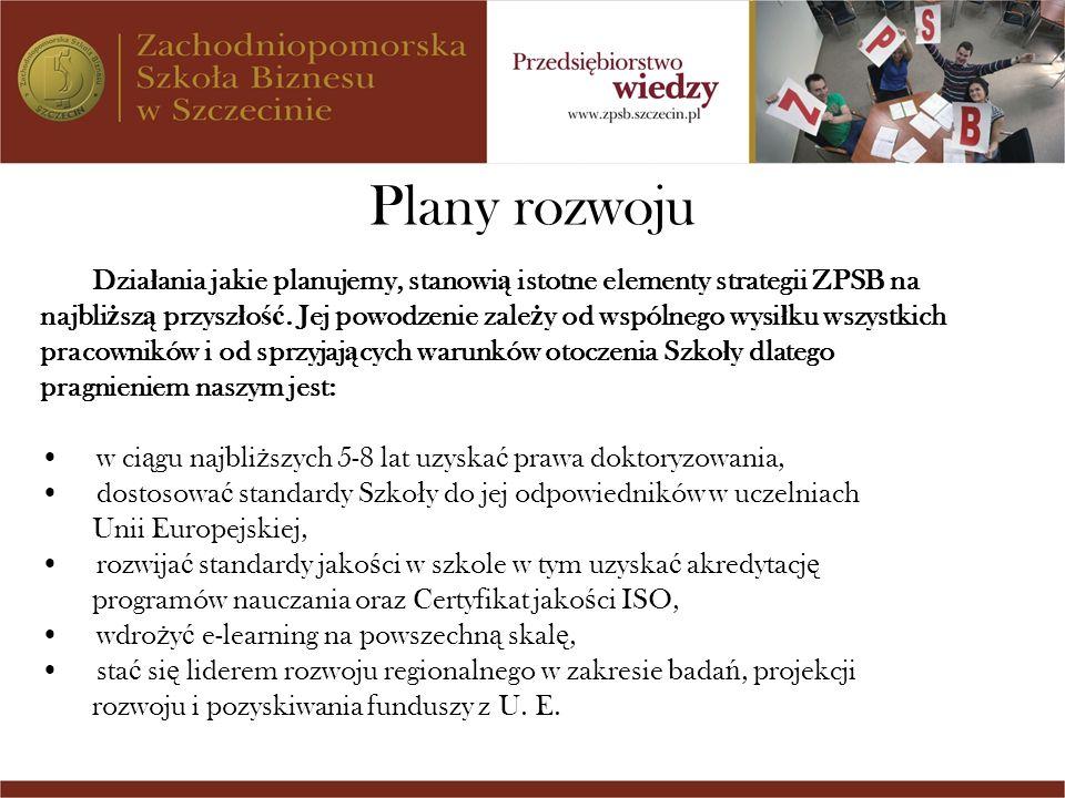 Plany rozwoju Dzia ł ania jakie planujemy, stanowi ą istotne elementy strategii ZPSB na najbli ż sz ą przysz ł o ść. Jej powodzenie zale ż y od wspóln