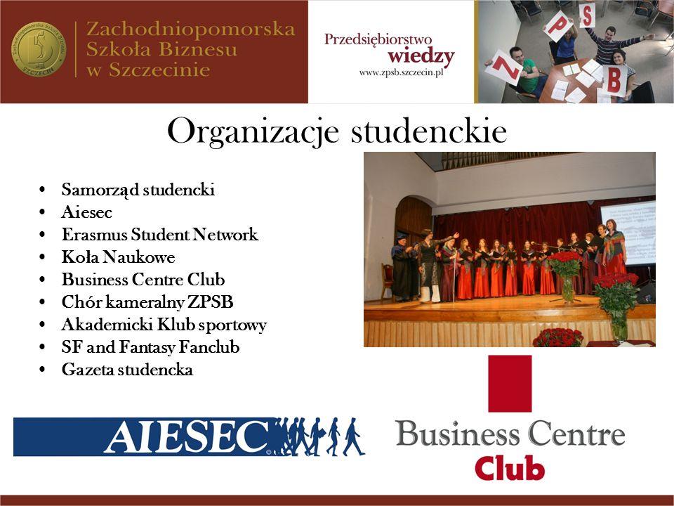 Organizacje studenckie Samorz ą d studencki Aiesec Erasmus Student Network Ko ł a Naukowe Business Centre Club Chór kameralny ZPSB Akademicki Klub spo