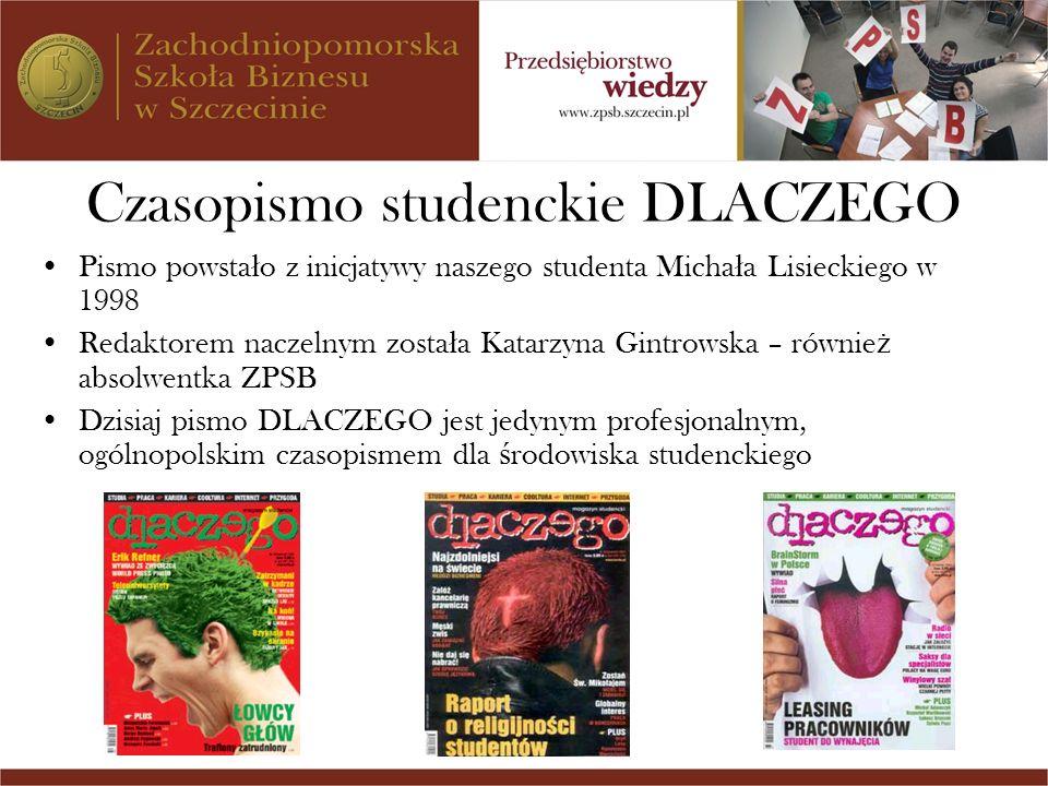 Czasopismo studenckie DLACZEGO Pismo powsta ł o z inicjatywy naszego studenta Micha ł a Lisieckiego w 1998 Redaktorem naczelnym zosta ł a Katarzyna Gi