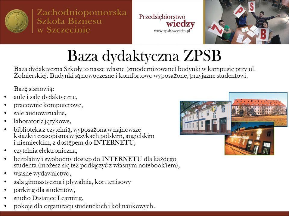 Baza dydaktyczna ZPSB Baza dydaktyczna Szko ł y to nasze w ł asne (zmodernizowane) budynki w kampusie przy ul. Ż o ł nierskiej. Budynki s ą nowoczesne
