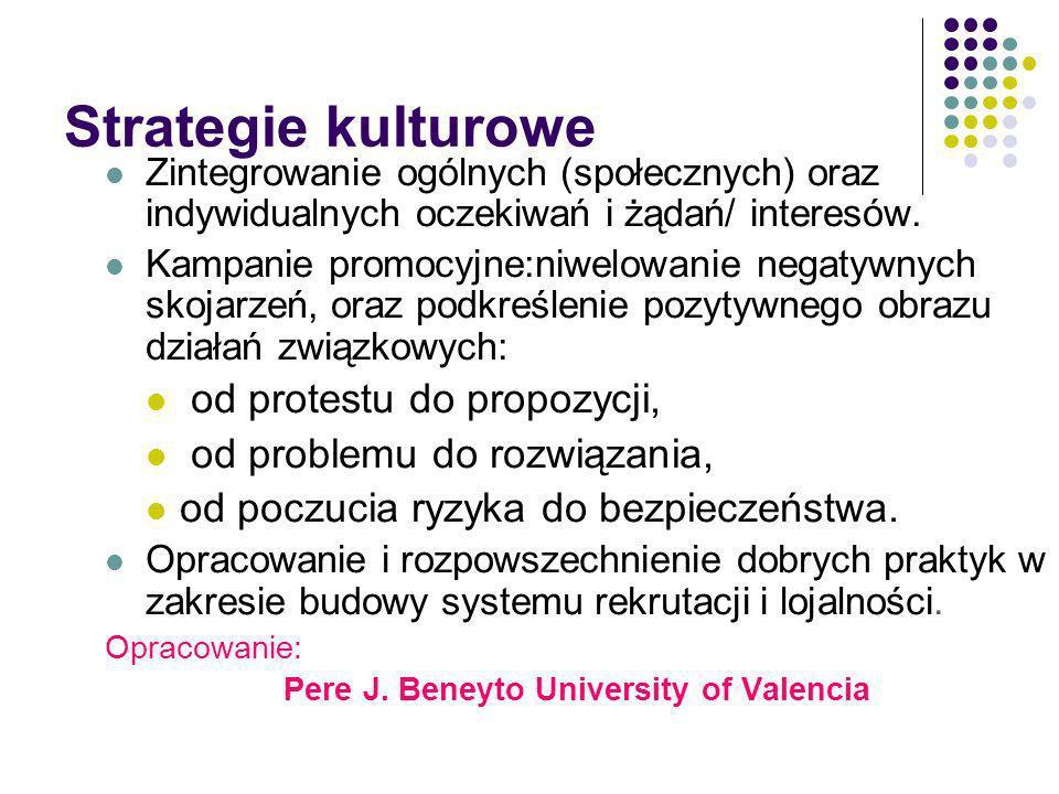 Strategie kulturowe Zintegrowanie ogólnych (społecznych) oraz indywidualnych oczekiwań i żądań/ interesów. Kampanie promocyjne:niwelowanie negatywnych