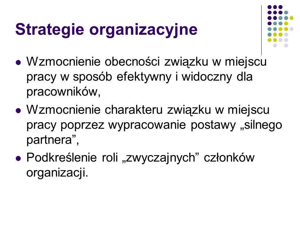 Strategie organizacyjne Wzmocnienie obecności związku w miejscu pracy w sposób efektywny i widoczny dla pracowników, Wzmocnienie charakteru związku w miejscu pracy poprzez wypracowanie postawy silnego partnera, Podkreślenie roli zwyczajnych członków organizacji.