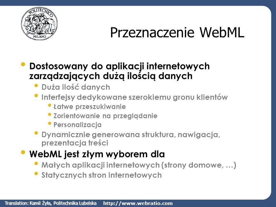 http://www.webratio.com Przeznaczenie WebML Dostosowany do aplikacji internetowych zarządzających dużą ilością danych Duża ilość danych Interfejsy ded